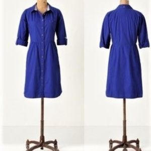 Odille blue button shirt dress Anthropologie Sz 0